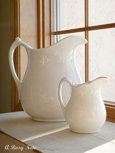 pitchers - I love these!  I have a collection of ironstone pitchers and teapots! ;-)