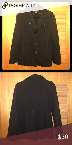 Jacket Black cotton/polyester blend medium weight jacket Kenneth Cole Reaction Jackets & Coats Pea Coats