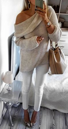 #fall #fashion · Cream Sweater White Skinny Pants