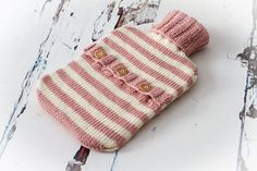 Striped Hot Water Bottle Cover, Cosy, Hand Knit, Luxury Yarn - Rose Pink & Cream Hand Knitting, Knitting Patterns, Aran Weight Yarn, Bottle Cover, Sell Items, Diy Crochet, Cool Patterns, Pink Roses, Sewing Projects