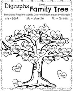 Grade reading Worksheets for February - Digraphs Family Tree. Color by digraph with a Valentine's theme. 1st Grade Reading Worksheets, First Grade Activities, 2nd Grade Reading, Phonics Activities, 1st Grade Math, Reading Activities, Grade 1, 1st Grade Crafts, Third Grade