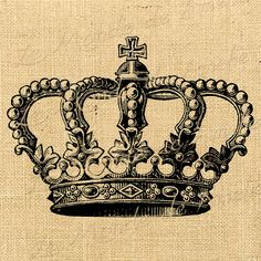 Crown Royal vintage king queen digital image royal paris crown for iron transfer… Coroa Tattoo, Diy Image, Crown Tattoo Design, Crown Tattoos, Tatoos, Etiquette Vintage, Images Vintage, Fabric Handbags, Desenho Tattoo
