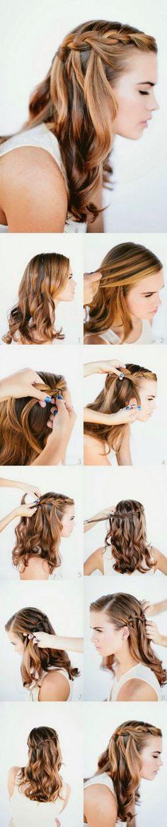Waterfall Braid Wedding Hairstyles For Long Hair.