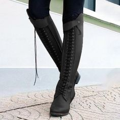 dce0878c232 Casual Lace-Up Women Horse Riding Booties Black Boots