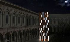 t-energy ~ part of the interni design energies event. the tower includes the modular light panels manufactured by martini which light up using the solar panels produced by pramac.