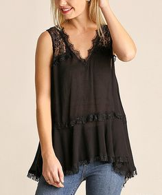 Take a look at this JDF Designs Black Lace-Accent V-Neck Sleeveless Top today!