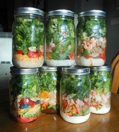 Salads in jars. Make them up on Sunday for the week. Dressing goes on the bottom. Layer up from there. Fruit salad with poppyseed dressing, Veg salad with blue cheese dressing, Pasta salad, Chicken salad, etc. etc,