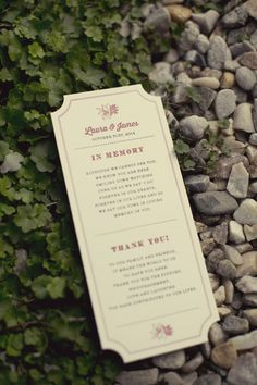 """Wedding ceremony programs with an """"In Memory"""" section {Alexis Stein Photography]"""