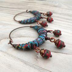 Silk Road Gypsy Hoop Earrings Blue Paisley Silk by GypsyIntent, $38.00