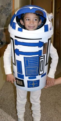 Homemade R2D2 costume made out of a garbage ca.