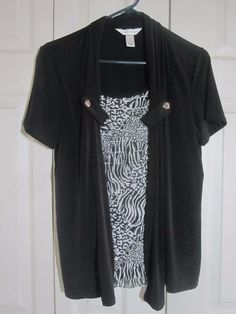 Christopher and Banks black and short sleeve two-fer NWOT Size M #ChristopherBanks #Blouse