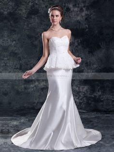 Charity - Robe de mariée sirène col en coeur traine mi-longue en dentelle et satin