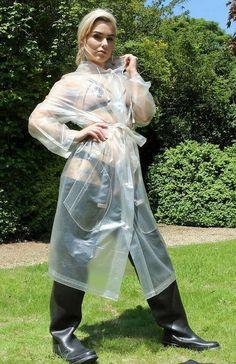 Pvc Raincoat, Plastic Raincoat, Transparent Raincoat, Shiny Days, Plastic Mac, Apron Dress, Rain Wear, Older Women, Riding Boots