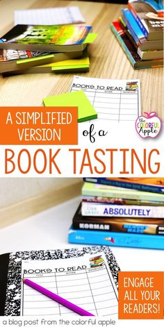 A Simplified Book Tasting Book tastings are a wonderful way to get elementary or middle school students engaged in reading and familiarizing them with books. A book pass is a simplified version! Students browse stacks of books to find new titles they wan Middle School Books, Middle School Libraries, Middle School Classroom, English Classroom, High School, Library Activities, Reading Activities, Teaching Reading, Reading Resources