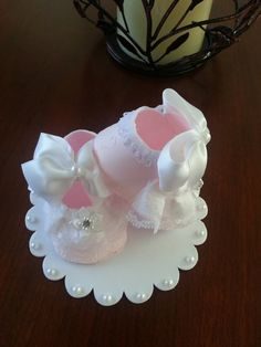 Shoe Cake Topper /Baby Shower Cake Topper / Baby Cake Topper Pink