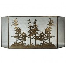 Fireplace Screens : 96 Wide X 40 High Tall Pines Folding Fireplace Screen - #113067