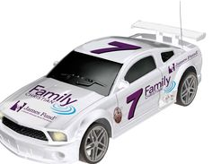 Bring the excitement and fun of the racetrack into your home with our first-ever official Family Christian race car. Perfect for the little (or big) racer in your life, this 27MHz remote control car is made to a 1:18 scale and features working headlights and forward and reverse motion.