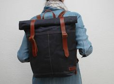 Canvas Backpack,  navy color, hand waxed , with handles, leather  double closures