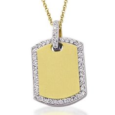 Meira T Diamond & Gold Dog Tag Necklace - Popular Meira T Necklace - This ladies gold and dimaond dogtag necklace can also be engraved. #meiraT #dogtags #pendant #engrave #necklace #diamonds #trendy #jewelry