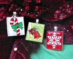 "Christmas scrabble tile pendants from our set ""Xmas Collection"" - Mango and Lime Design"