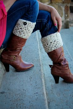 Crochet Boot Cuffs embellished with a button, boot toppers. Choose your color. $15.00, via Etsy.