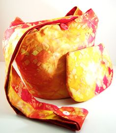 Yellow Orange and Red Tie Dye Cross body Hobo Bag and Zippered Pouch