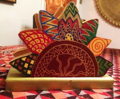 """Hand Painted Bohemian Wood Decorative Flower Mail or Napkin Holder 7""""Wx5.5""""Hx3""""D by NanabugsTreasures on Etsy"""