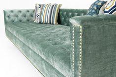 Hollywood Sofa in Aqua Velvet