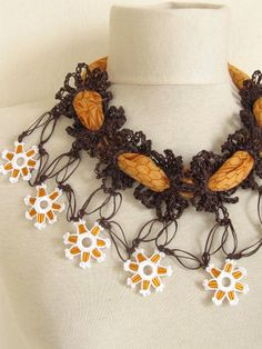 YEMENI  necklace orangebrown mixedmulticolor romance by asuhan, $27.90