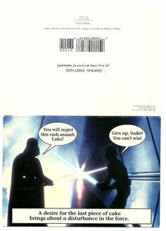 1994 STAR WARS Birthday card Darth Vader & Luke Skywalker fighting over cake