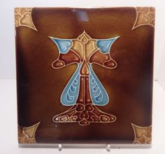 T & R Boote Ceramic Tile Stylised Art Nouveau Devices circa 1900 Blue Brown | Antiques, Architectural, Garden | eBay!