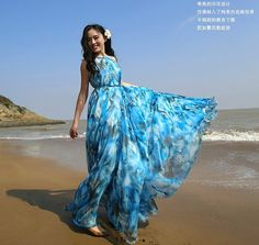 Blue Summer Floral Long Beach Maxi Dress.  Sort of like what I am going for