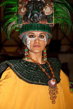 Woman in Traditional Pre-Hispanic Mayan Costume, Playa del Carmen, Riviera Maya…