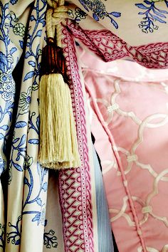 Charlotte Moss Collection - soft palette like the combo of the pinks and the toile in blue. Fabric Decor, Fabric Design, Fabricut Fabrics, Passementerie, Fabulous Fabrics, Best Interior Design, Elegant Homes, Pantone Color, Soft Furnishings