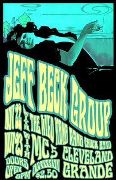 Jeff Beck 1968 Cleveland Concert Poster by ClevelandRockAndRoll,