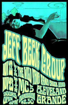 Jeff Beck 1968 Cleveland Concert Poster by ClevelandRockAndRoll,