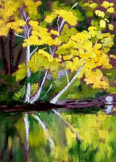 Yellow Tree Reflection, Original Painting, Oil 5x7