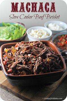 Machaca aka Slow Cooker Beef Brisket   Cooking In Stilettos  http://cookinginstilettos.com/  #SlowCooker #Beef