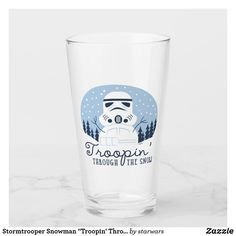 """Stormtrooper Snowman """"Troopin' Through The Snow"""" Glass Chancellor Palpatine, Star Wars Store, Jango Fett, Dashing Through The Snow, Star Wars Christmas, Star Wars Merchandise, Funny Illustration, Gift Store"""