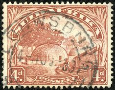 """Union of South Africa 1932 Scott (SG reddish brown, Photogravure No Hyphen """"Native Kraal"""" Union Of South Africa, Vintage Stamps, Stamp Collecting, Nativity, Vintage World Maps, Poster, African, Reddish Brown, Snail"""
