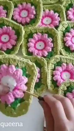 Crochet Flower Squares, Flower Granny Square, Crochet Flower Tutorial, Crochet Blocks, Granny Square Crochet Pattern, Afghan Crochet Patterns, Crochet Motif, Crochet Flowers, Crochet Stitches