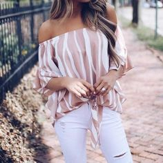 2018 Women Striped Summer Blouses Slash Neck Off Shoulder Tops Sexy Bl – noashe Summer Outfits, Casual Outfits, Cute Outfits, Fashion Outfits, Fashion Women, Latest Fashion, Fashion Hacks, Retro Fashion, Casual Shirts