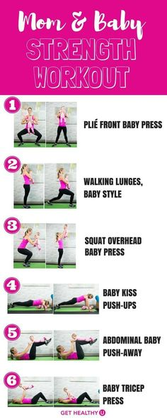Mom and Baby Strength Workout To Do At Home Many new mothers want to exercise after giving birth but making time for workouts post-partum is [. After Baby Workout, Post Baby Workout, Post Pregnancy Workout, Mommy Workout, Baby Weight Workout, Fitness After Baby, Workout For Moms, Postpartum Workout Plan, Fit Pregnancy