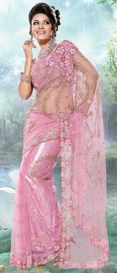 Pink Net #Saree With #Blouse | $273.68 | Shop Here: http://www.utsavfashion.com/store/sarees-large.aspx?icode=ssx2405