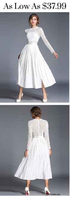 Are you in the spring mood yet? Wear this charming white lace long sleeve below knee swing dress. A must have this spring!  Shop it at $37.99.
