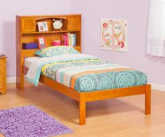 Newport Bookcase Bed | Open Foot Rail in Caramel Latte by Atlantic Solid Wood Bunk Beds, Wooden Platform Bed, Atlantic Furniture, Bookcase Headboard, Caramel Latte, Large Beds, Solid Wood Furniture, Bedding Collections, Newport