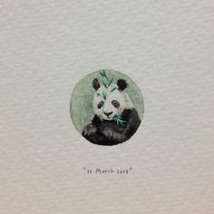Day 82 : A panda for Neen, from Tom, on their wedding day. 20 x 20 mm. (at Vredehoek) Detailed Paintings, Mini Paintings, Miniature Paintings, Panda Painting, Circle Drawing, Frozen Art, Panda Art, Ants, Watercolor Art