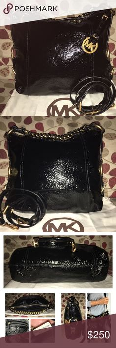 Michael Kors Embossed Hobo Michael Kors Black Patent Embossed Leather with BRASS sleek Hardware! Yes, a RARE bag indeed! Gorgeous! It's Logo lined, key fob, 1 zip, multiple slip pockets and attachable/adjustable for shoulder wear strap This is a Stunning Bag w/ Brass Chain Detail on handle and the O rings & buckle accents on the sides are to die for! It's amazing! Measures 15 x 12 x 5 includes dust bag! 🚫no trades price firm🚫 MICHAEL Michael Kors Bags Hobos