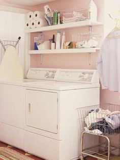 Pretty in Pink Laundry Rooms and Organizing the Laundry Room
