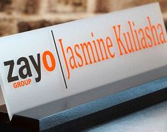 personalized office desk name plate & sign. modern stainless steel